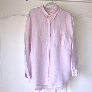 Gap Pink Linen Boyfriend Shirt XL